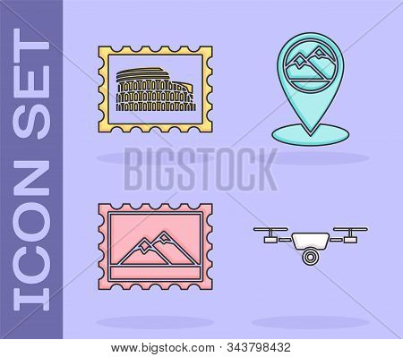 Set Drone Flying With Action Video Camera, Postal Stamp And Coliseum, Postal Stamp And Mountains And