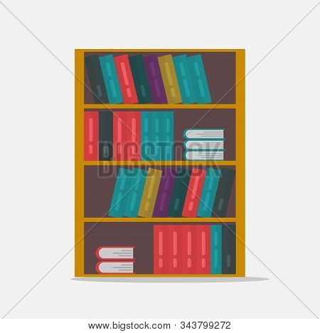 Big Bookshelf Vector Illustration Isolated Flat Cartoon, Large Shelf With Books Or Bookcase Clipart