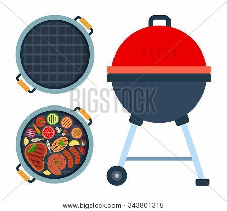 Grill On Wheels, Round Grill With Meat, Fish And Vegetables Top View And Empty Round Grill Top View