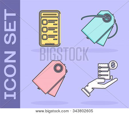 Set Human Hand Holding With Blank Receipt Or Bill For Payment, Online Shopping On Mobile Phone, Blan