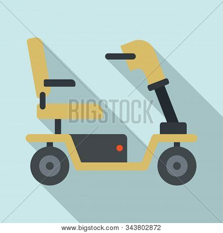 Motorized Wheelchair Icon. Flat Illustration Of Motorized Wheelchair Vector Icon For Web Design