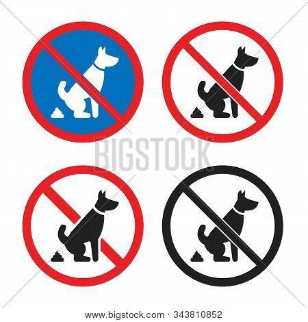No Pet Waste Sign, No Dog Poop Icon Set