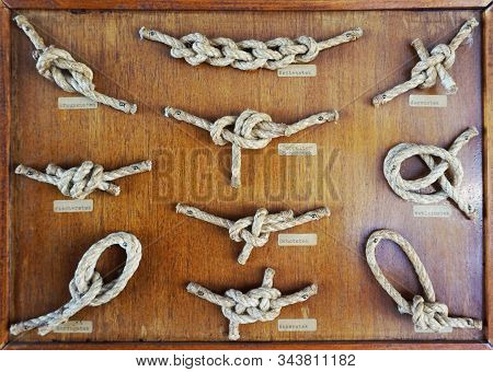 Sailor Knots Collection As Old Boat Background