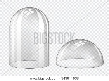 Glass Dome, Clear Plastic Bell Jar Isolated On Transparent Background. Vector Realistic Mockup Of Em