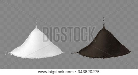 Salt And Ground Black Pepper Pile Isolated On Transparent Background. Vector Mockup Of Realistic Two