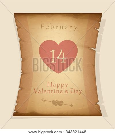 Happy Valentine's Day. 14 February. Holiday Greetings. Valentine's Day Congratulations Text On Papyr