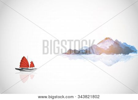 Mountains And Traditional Boat With Red Sails. Traditional Oriental Ink Painting Sumi-e, U-sin, Go-h