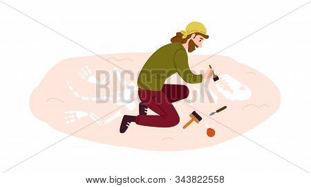 Archeology, Paleontology Flat Vector Illustration. Archaeological Excavation, Scientific Research, A