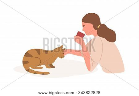 Girl With Cat Flat Vector Illustration. Animal Care, Playing With Cat. Home Leisure, Recreation, Rel