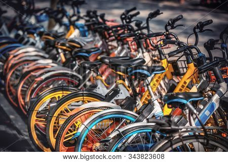 Share electric bikes parked on the sidewalk, Hangzhou, China