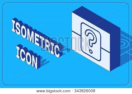 Isometric Mystery Box Or Random Loot Box For Games Icon Isolated On Blue Background. Question Box. V