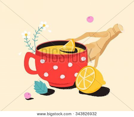 Tea With Lemon, Ginger And Camomile. Cold Medicine Cure For Sore Throat, Flu.  Remedy Natural, Homeo