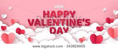 Valentines Day Concept Background. Vector Illustration. 3d Red And Pink Paper Cut Hearts With White