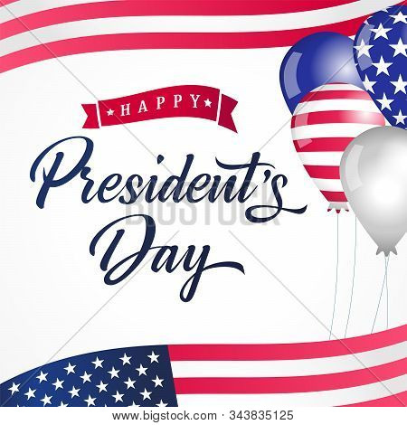 Happy Presidents Day Usa Balloons And Flags Lettering Card. Vector Illustration Sale Discount Banner