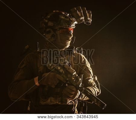 Army Special Forces Tactical Group Fighter In Dark