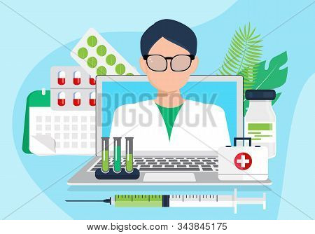 Doctor Appointment Vector. Online Medical Consultation Or Laboratory. Remote Diagnostics Or Virtual