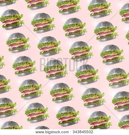 Modern Colorful Pattern Made Of Exclusive Design Of A Burger Inside Of Discoball, Modern Background.