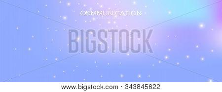 Cosmic Technology Wallpaper. Big Data 3d. Pink Dots Network. Light Triangular Background. Technology