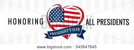Honoring All Presidents For Presidents Day Usa, Heart Poster. Vector Illustration Sale Discount Bann