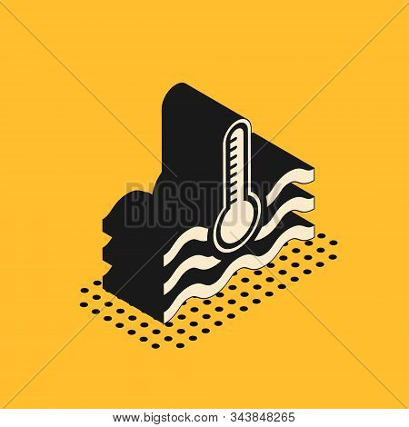 Isometric Water Thermometer Measuring Heat And Cold Icon Isolated On Yellow Background. Thermometer