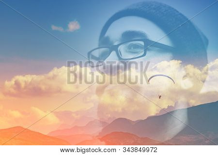 Abstract Double Multiply Exposure Head Portrait Of A Hipster Man Beard Mustache Face In Glasses Outd