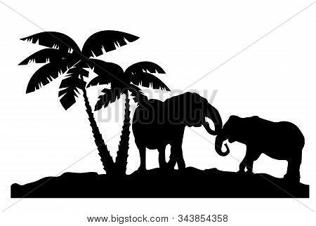Vector Illustration Of Elephants Couple Near Palm Trees. Animal, Trees Silhouettes.