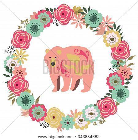 Vector Illustration Of A Floral Vintage Frame With A Vintage Bear. Retro Flowers Background.