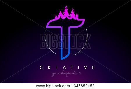 Creative T Letter Logo Idea With Pine Forest Trees. Letter T Design With Pine Tree On Topvector Illu