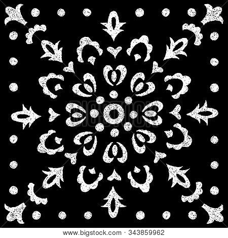 Black And White Vintage Print. Ornament For Scarves, Textiles. Ethnic And Tribal Motifs.
