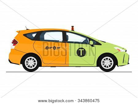 Concept Of Green And Yellow Cab. Side View Of Modern Cab In Half Green And Yellow. Flat Vector.