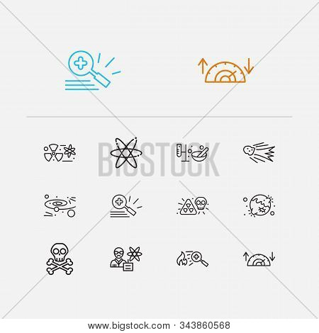 Physical icons set. Nuclear physics and physical icons with physics scientist, cosmology and electrons. Set of model for web app logo UI design. poster