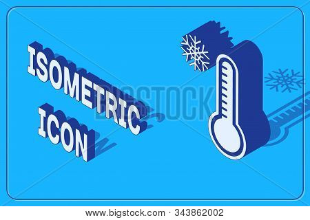 Isometric Meteorology Thermometer Measuring Heat And Cold Icon Isolated On Blue Background. Thermome