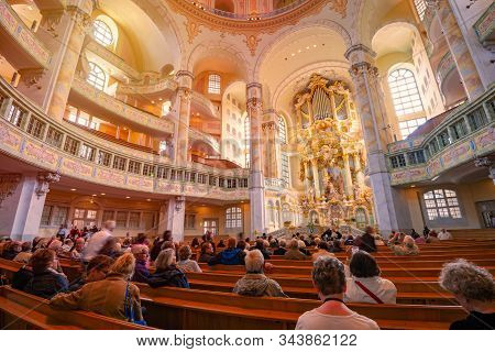 Dresden, Germany - September 22, 2014: Frauenkirche Cathedral Interior In Dresden, Germany. Church O