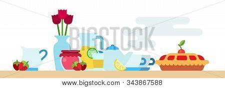 Afternoon Tea Party With Biscuit, Hot Tea Pot, Jam Jar, Limonade, Flowers Vase And Berries Vector Fl
