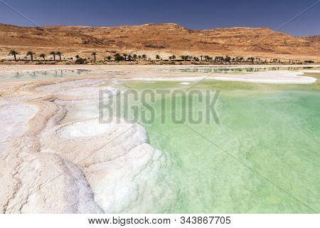 Salt Formation In Ein Bokek District On The Shore Of The Dead Sea, Near Neve Zohar, Israel.