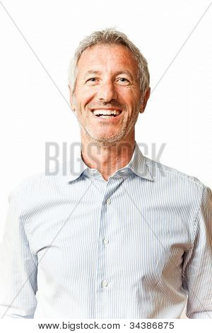 Elegant smiling mature casual man portrait isolated on white background