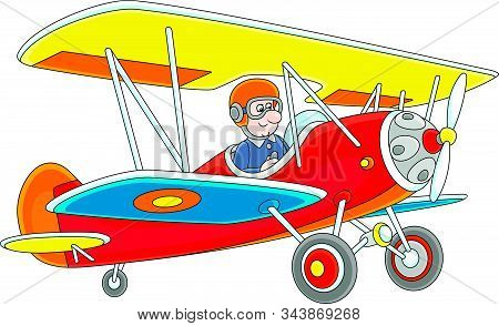 Toy Airplane Piloting By A Funny Cartoon Aviator, Vector Illustration On A White Background