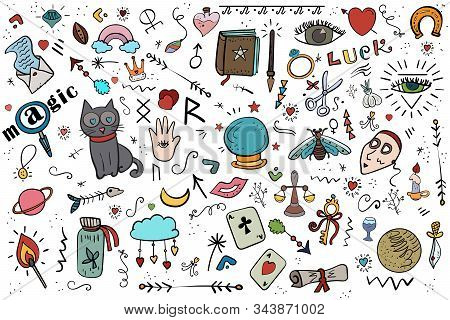 Fortune Telling, Halloween, Saint Valentines Day Cartoon Vector Doodle Illustration. Magic