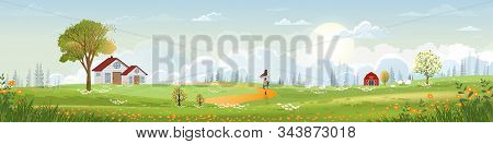 Spring Landscape With Mother And Son Riding Bicycle In Green Field On Sunny Day,panorama With Family