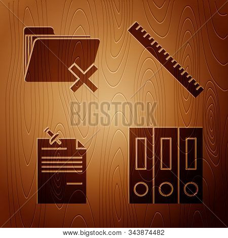 Set Office Folders With Papers And Documents, Delete Folder, Note Paper With Pinned Pushbutton And R