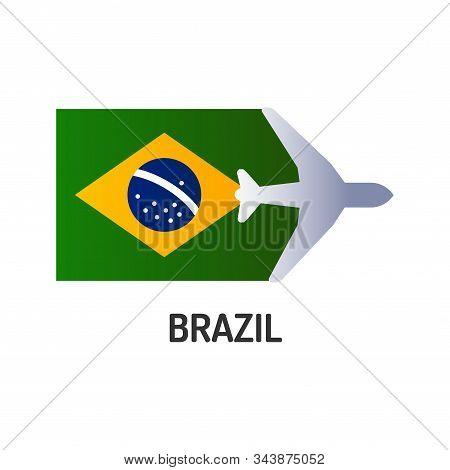 Flag Of Brasil Color Line Icon. Airline Network. International Flights. Popular Tourist Destination.