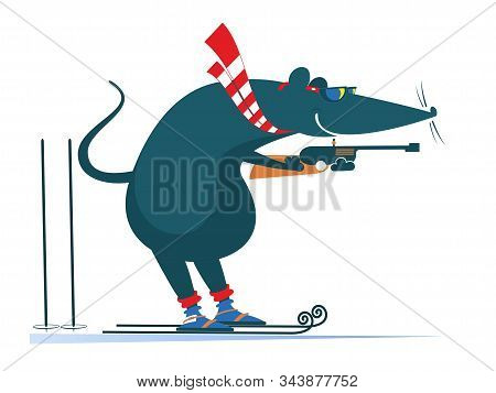 Biathlon Competitor Rat Or Mouse Illustration. Shooting In The Stand Position Biathlon Competitor Ra
