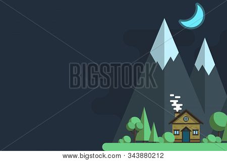 Illustrations Of The Night Resort City. City Landscapes In Flat Design