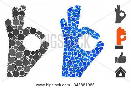 Okay Gesture Mosaic Of Small Circles In Variable Sizes And Color Tints, Based On Okay Gesture Icon.