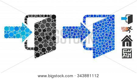 Exit Door Mosaic Of Small Circles In Various Sizes And Shades, Based On Exit Door Icon. Vector Small