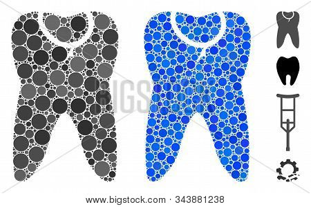 Caries Tooth Mosaic Of Round Dots In Various Sizes And Color Tinges, Based On Caries Tooth Icon. Vec