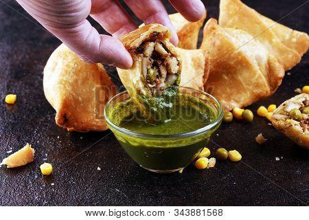 Vegetarian Samsa Or Samosas.indian Special Traditional Street Food Fried Punjabi Samosa Or Coxinha,