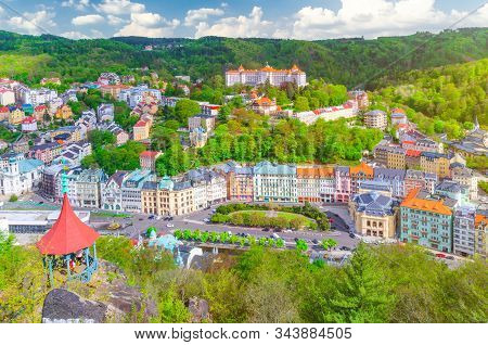 Karlovy Vary (carlsbad) Historical City Centre Top Aerial View With Colorful Beautiful Buildings, Sl