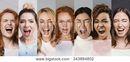 Angry Women Screaming. Collage Of Young Interracial Group Of Girls Shouting In Fury, Demonstrating N