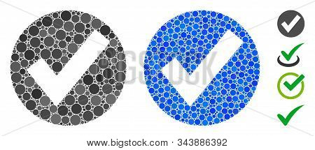 Ok Mark Mosaic Of Round Dots In Various Sizes And Shades, Based On Ok Mark Icon. Vector Round Dots A